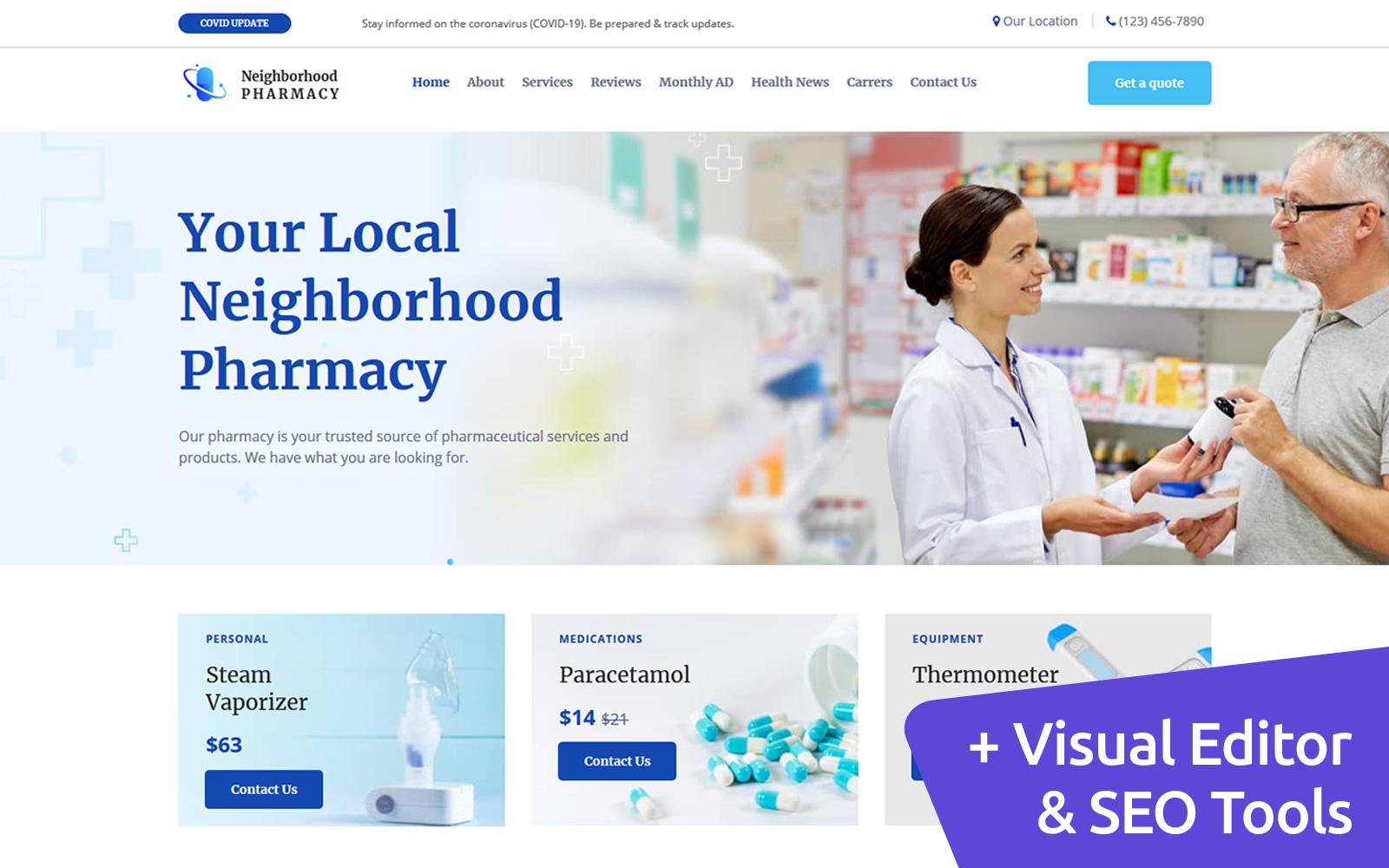 """Neighborhood Pharmacy"" modèle Moto CMS 3 adaptatif #121470"