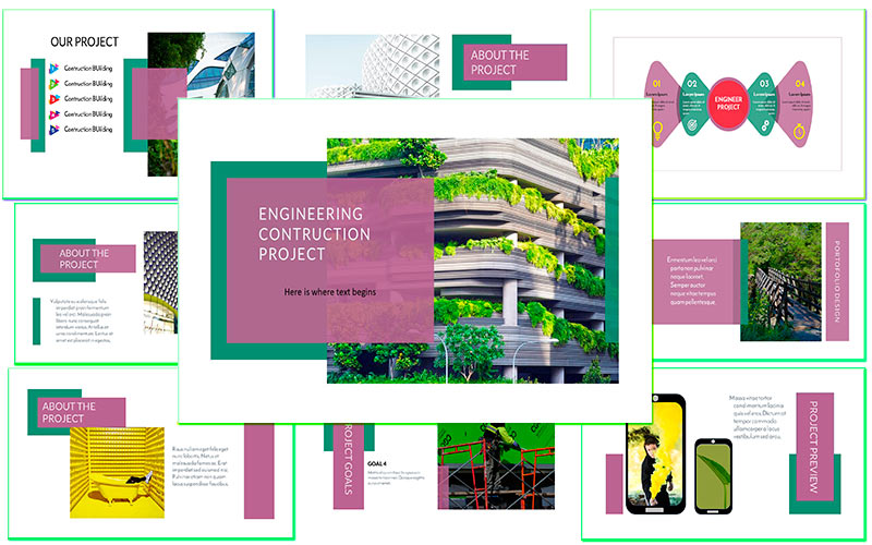 Responsive Engineering contruction Business and creative Google Slides #121557
