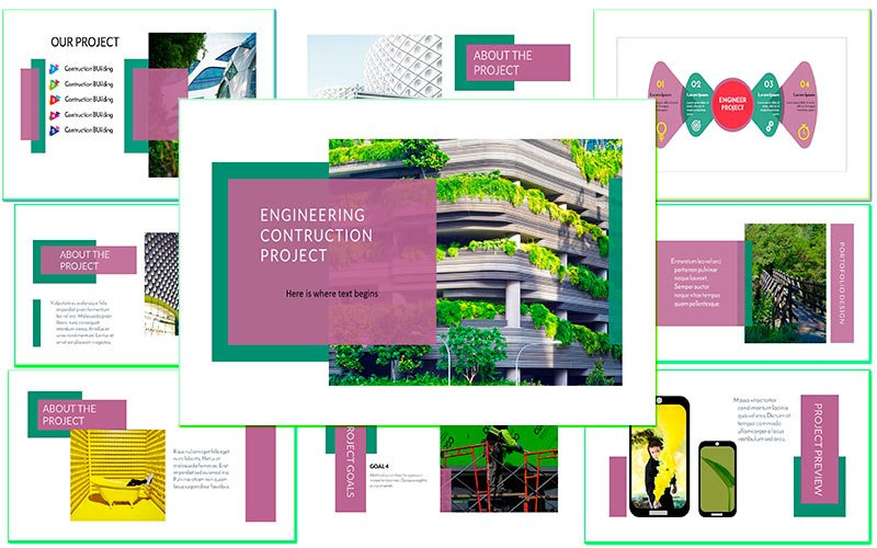 Responsivt Engineering contruction Business and creative Google Slides #121557