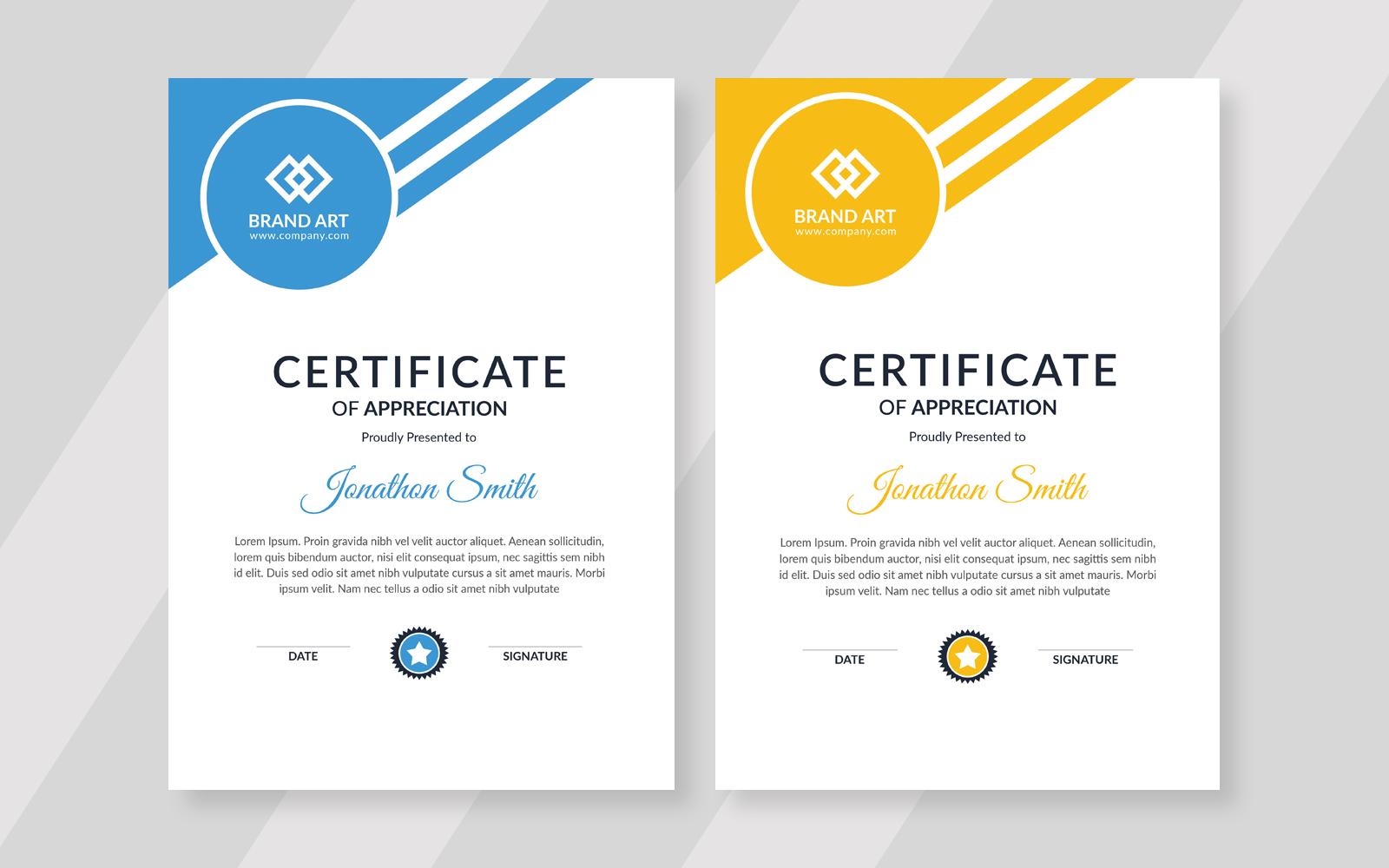 Szablon certyfikatu Triangles Shape Flat Design #121571
