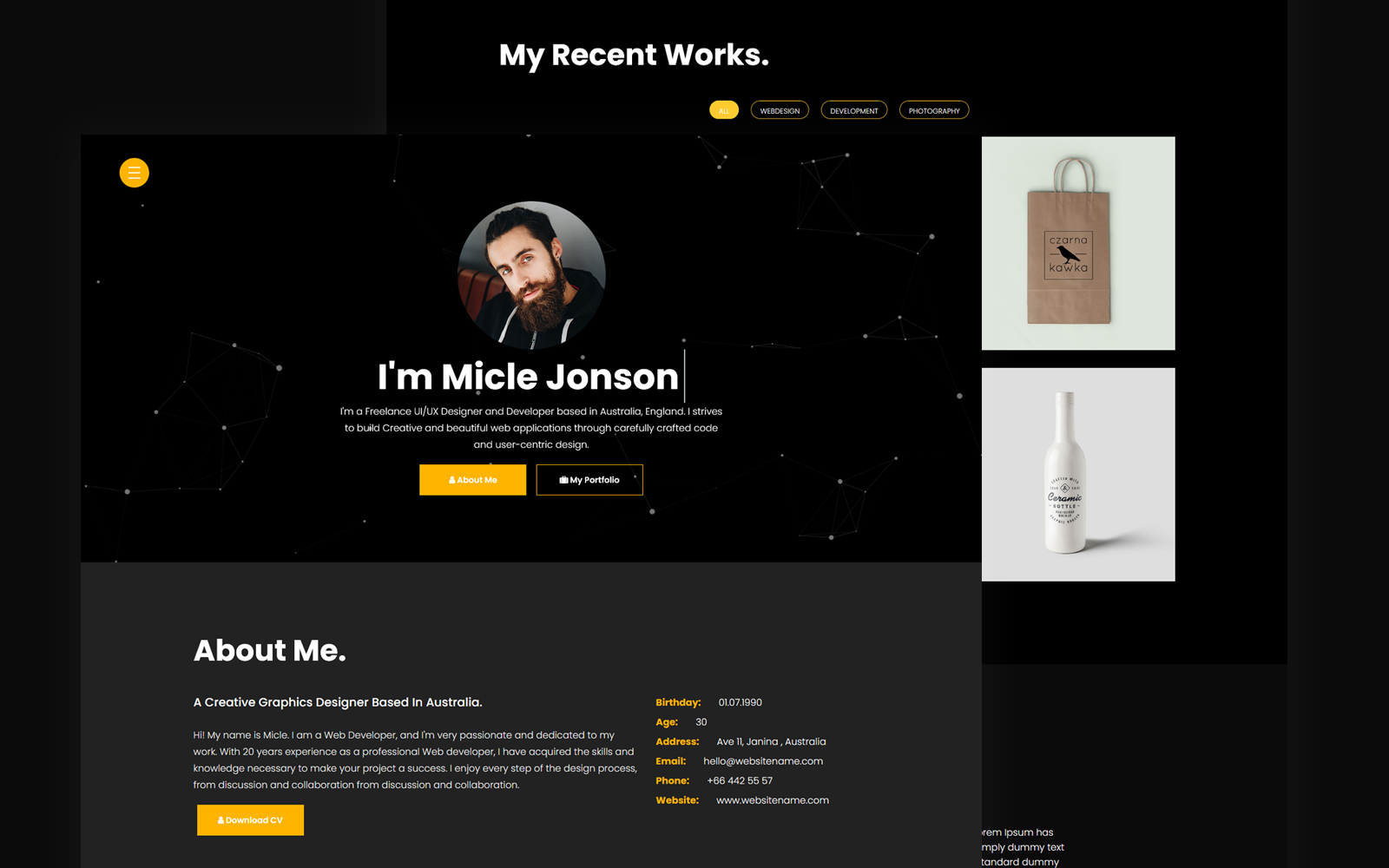 Micle - Personal Portfolio/Resume Landing Page Template