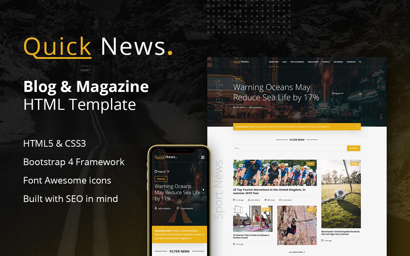 QuickNews - Blog & Magazine Website Template