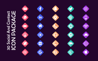 30 Gradient Social Media and Contact Icon Set