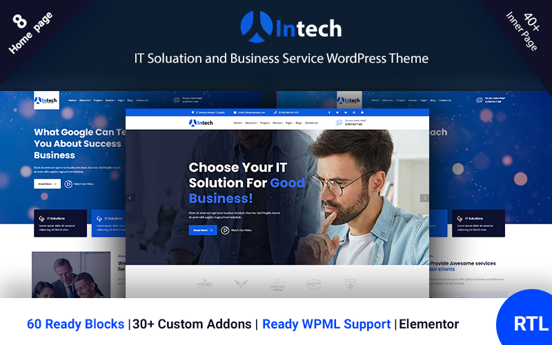"""Intech - IT Solution And Technology Services"" Responsive WordPress thema №122125"