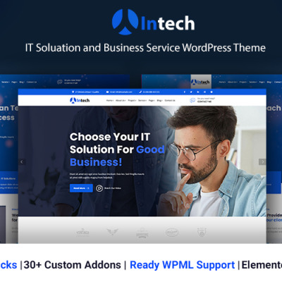 "WordPress шаблон ""Intech - IT Solution And Technology Services"" #122125"