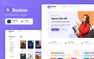 Bookoe - Book Store Website UI Design UI Elements