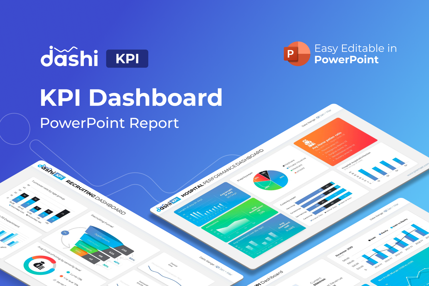 Dashi KPI – Dashboard Report Presentation PowerPoint sablon 122232
