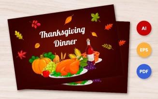 Free Thanksgiving Card: ThanksGiving Dinner - Illustration