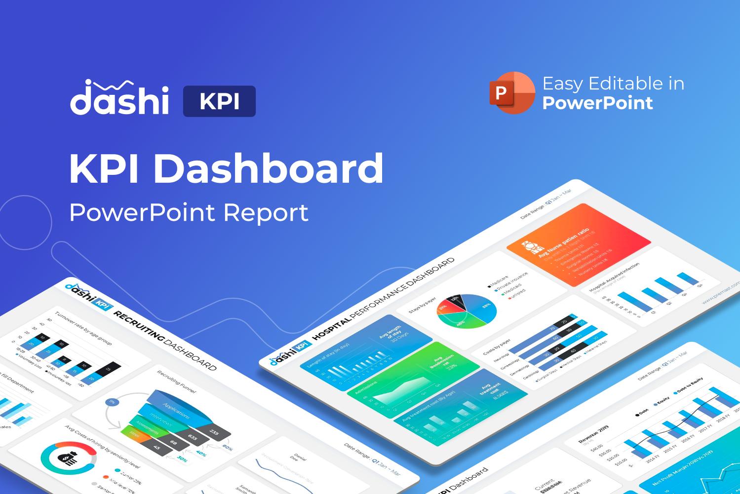 "PowerPoint šablona ""Dashi KPI – Dashboard Report Presentation"" #122232"