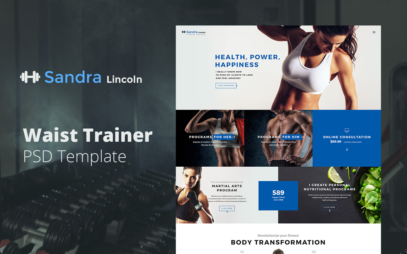 """Sandra Lincoln - Waist Trainer"" PSD Template №122284"