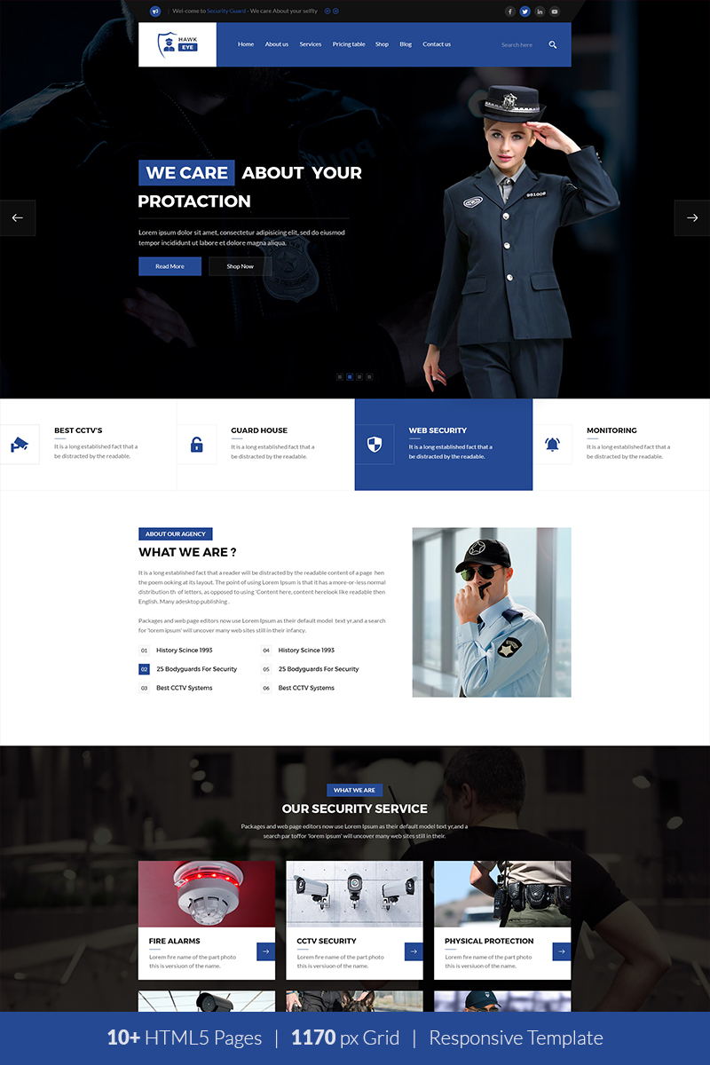 """""""Security Guard Services"""" Responsive Website template №122277"""