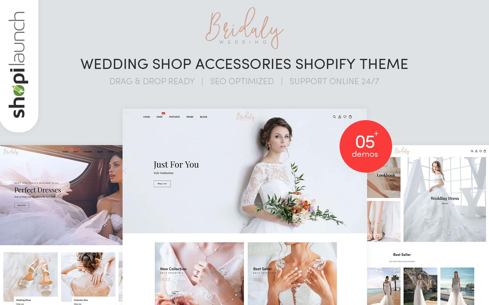 "Tema Shopify ""Bridaly - Wedding Shop Accessories Responsive"" #122276"