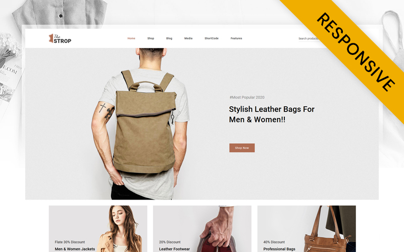 """Template WooCommerce Responsive #122281 """"TheStrop - Leather Fashion Store"""""""