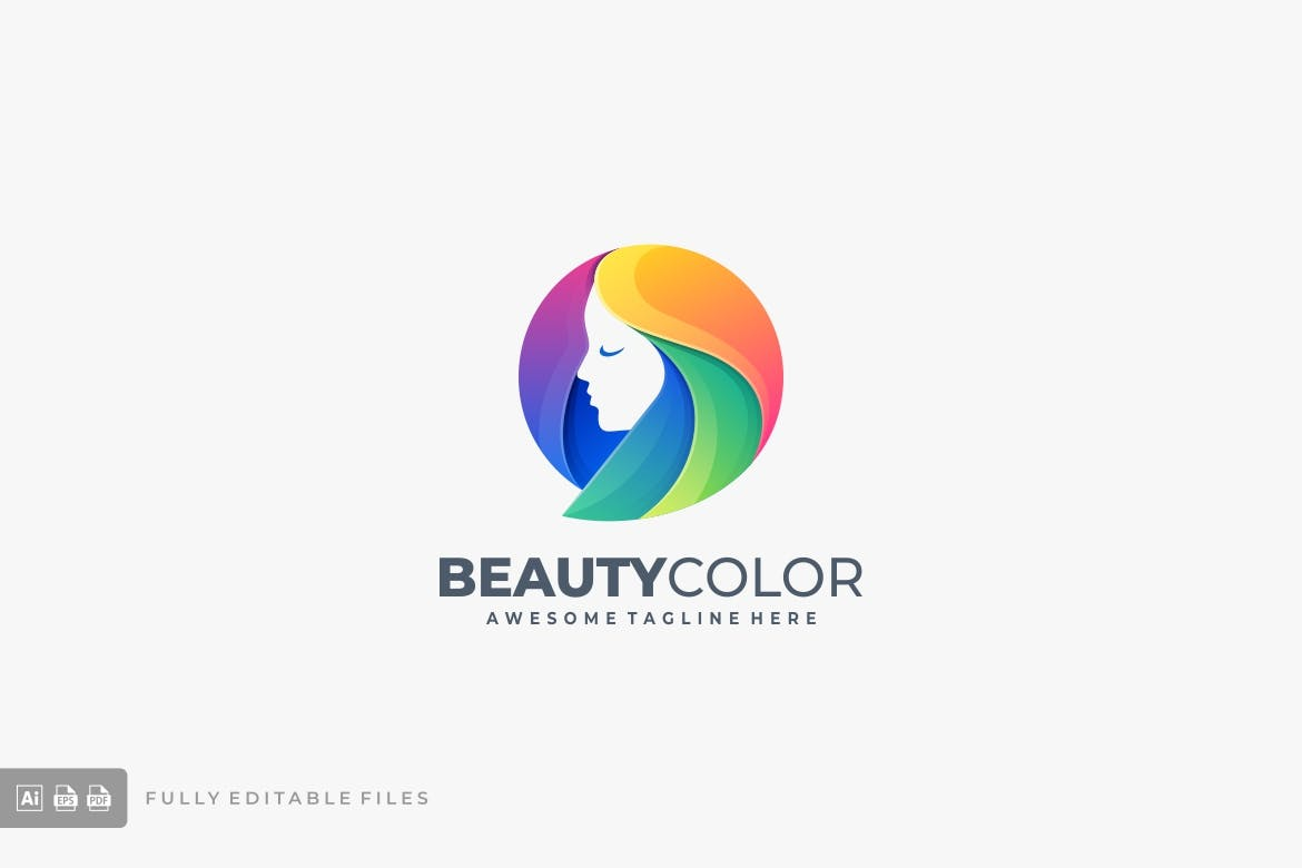 Beauty Girl Head Colorful Template de Logotipo №122378