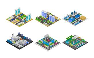 Isometric Buildings Set On White Background - Vector Image
