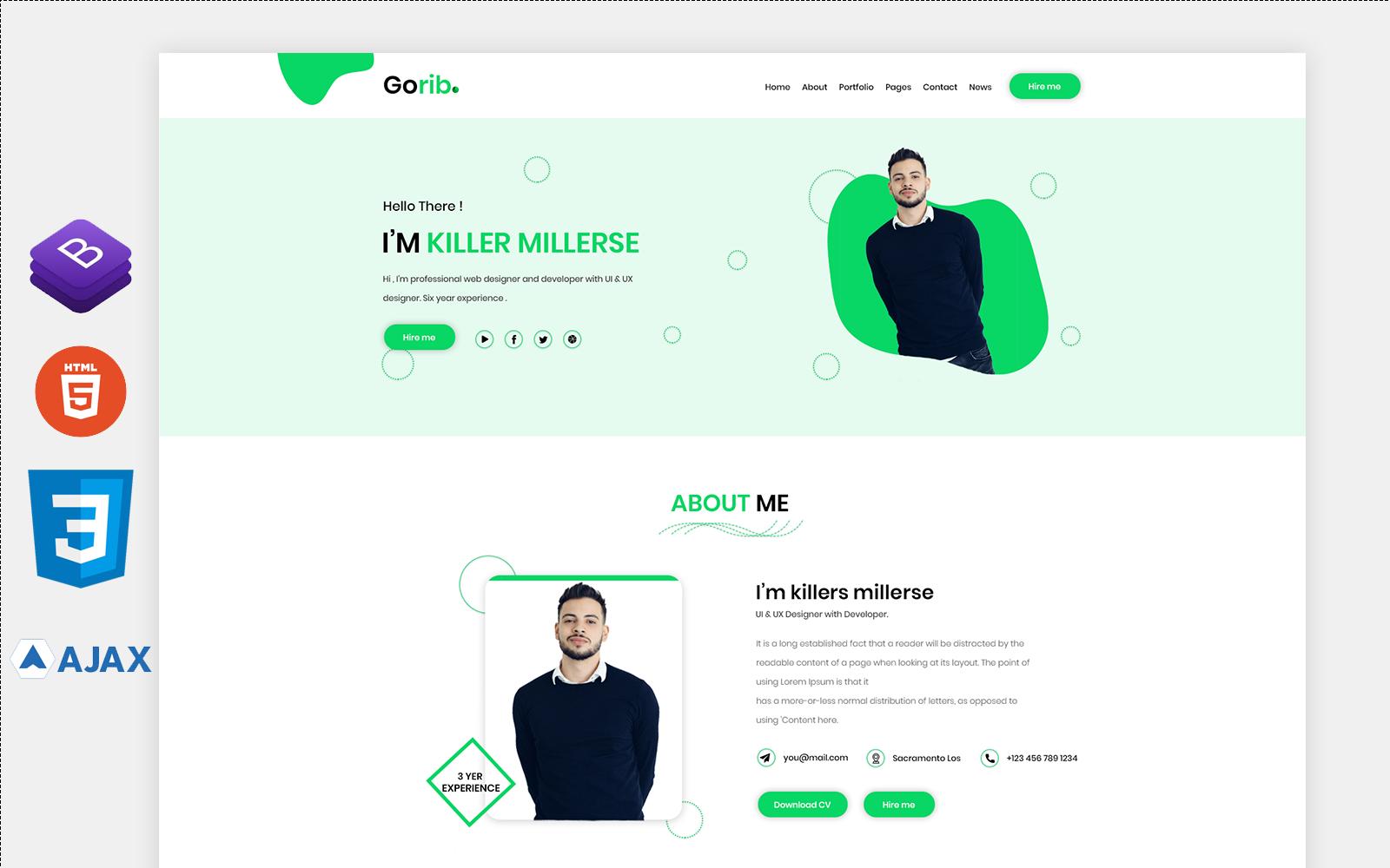 Gorib-Personal Portfolio Landing Page Template