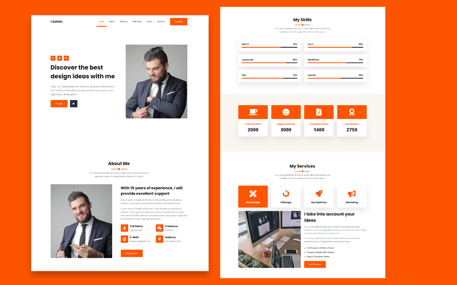 Caspar - Portfolio Landing Page Template