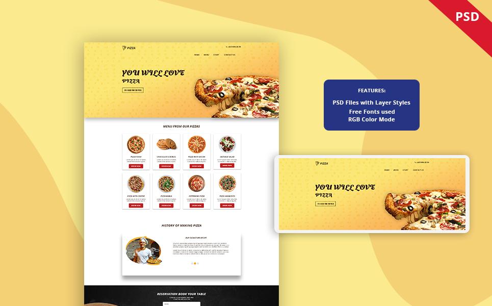 Bootstrap Pizza - Restaurant Landing page PSD sablon 122455