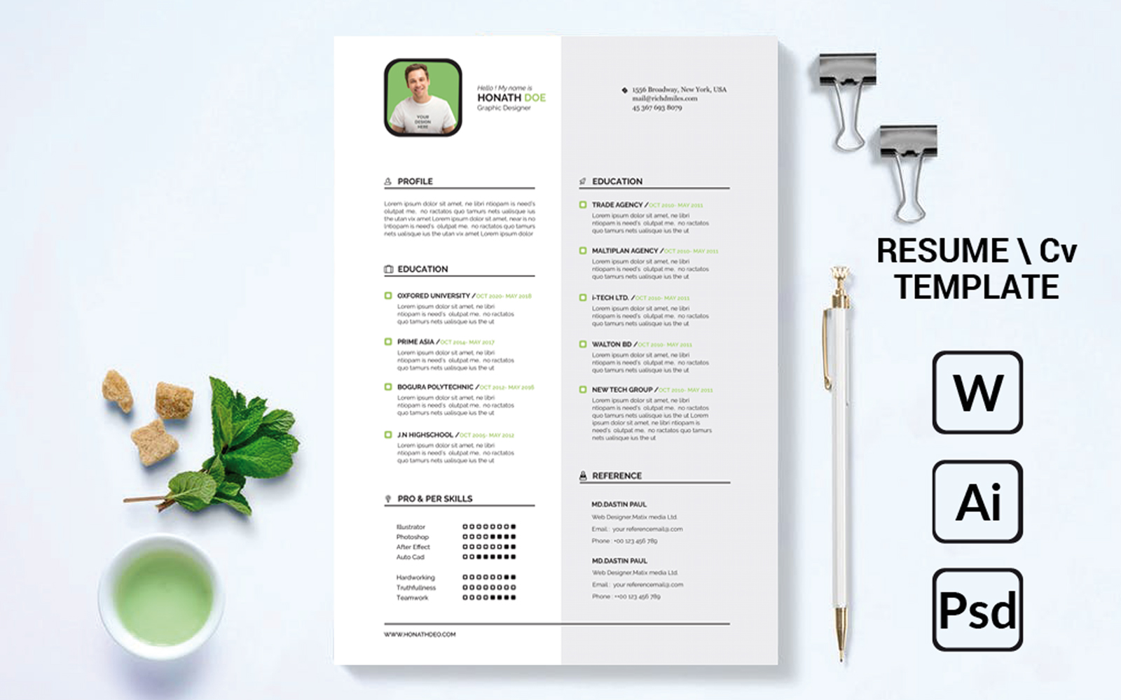 Creative White Modern Resume Template