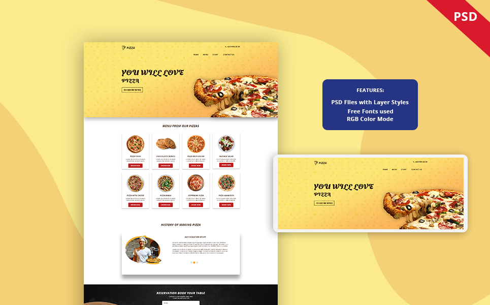 """""""Pizza - Restaurant Landing page"""" Bootstrap PSD Template №122455"""