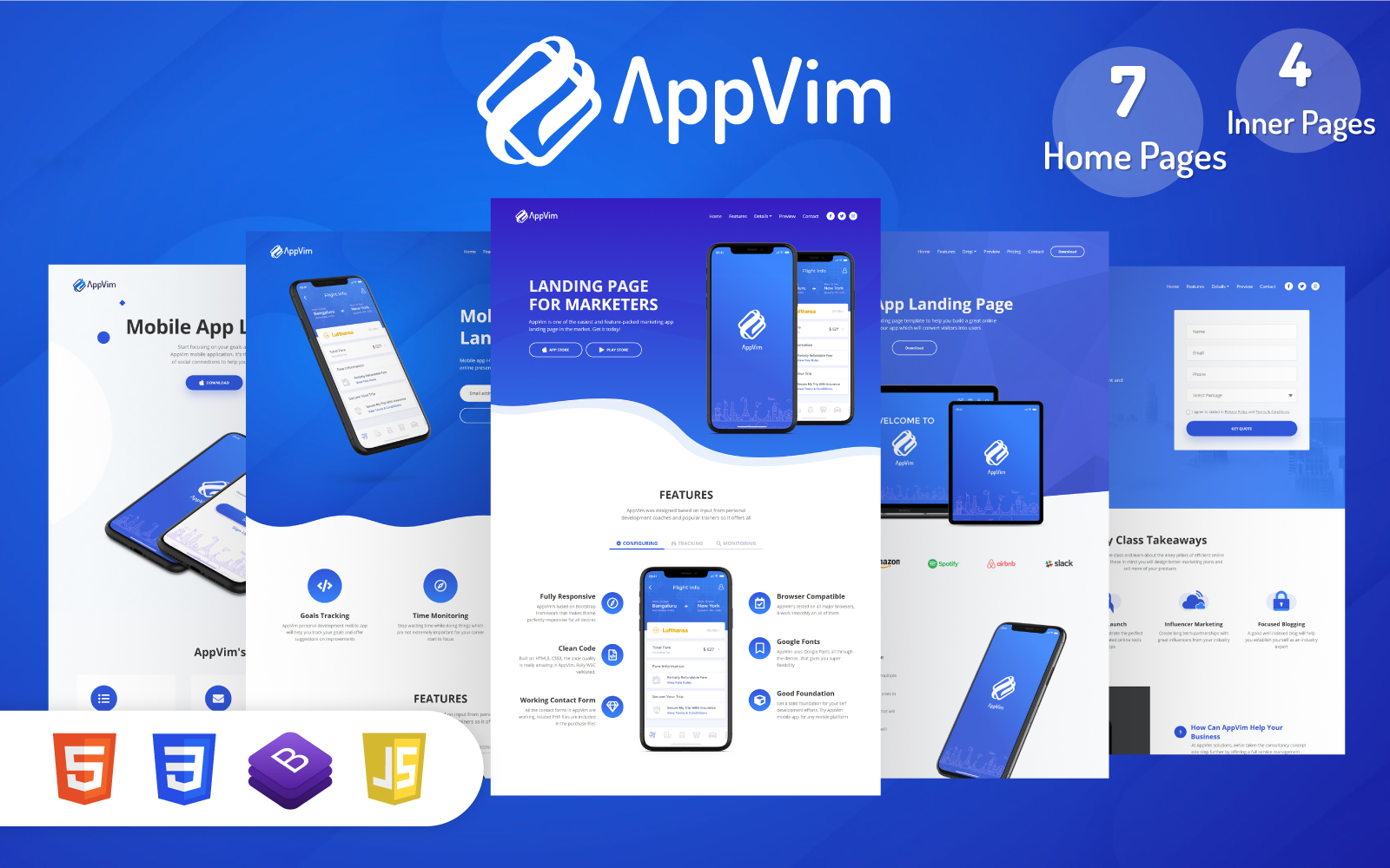 Responsivt AppVim - App Landing Page-mall #122465