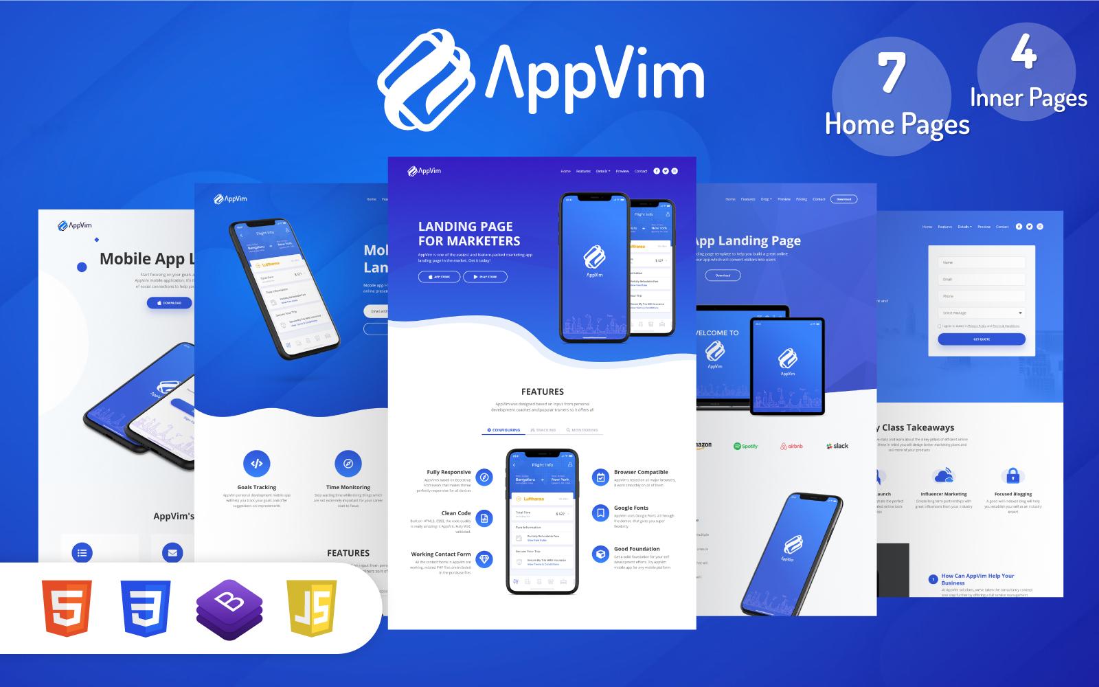 Reszponzív AppVim - App Nyítóoldal sablon 122465