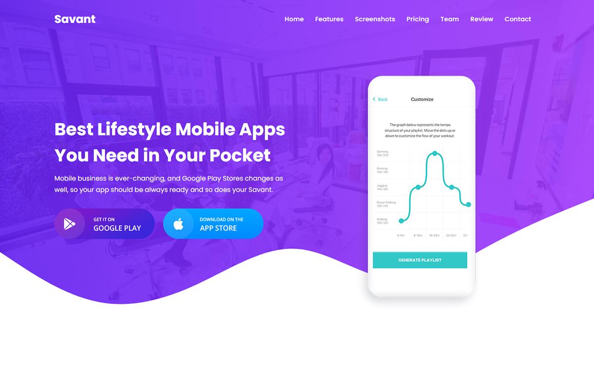 Savant - App HTML Landing Page Template