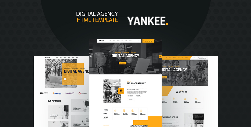 """Yankee - Digital Agency"" 响应式网页模板 #122460"