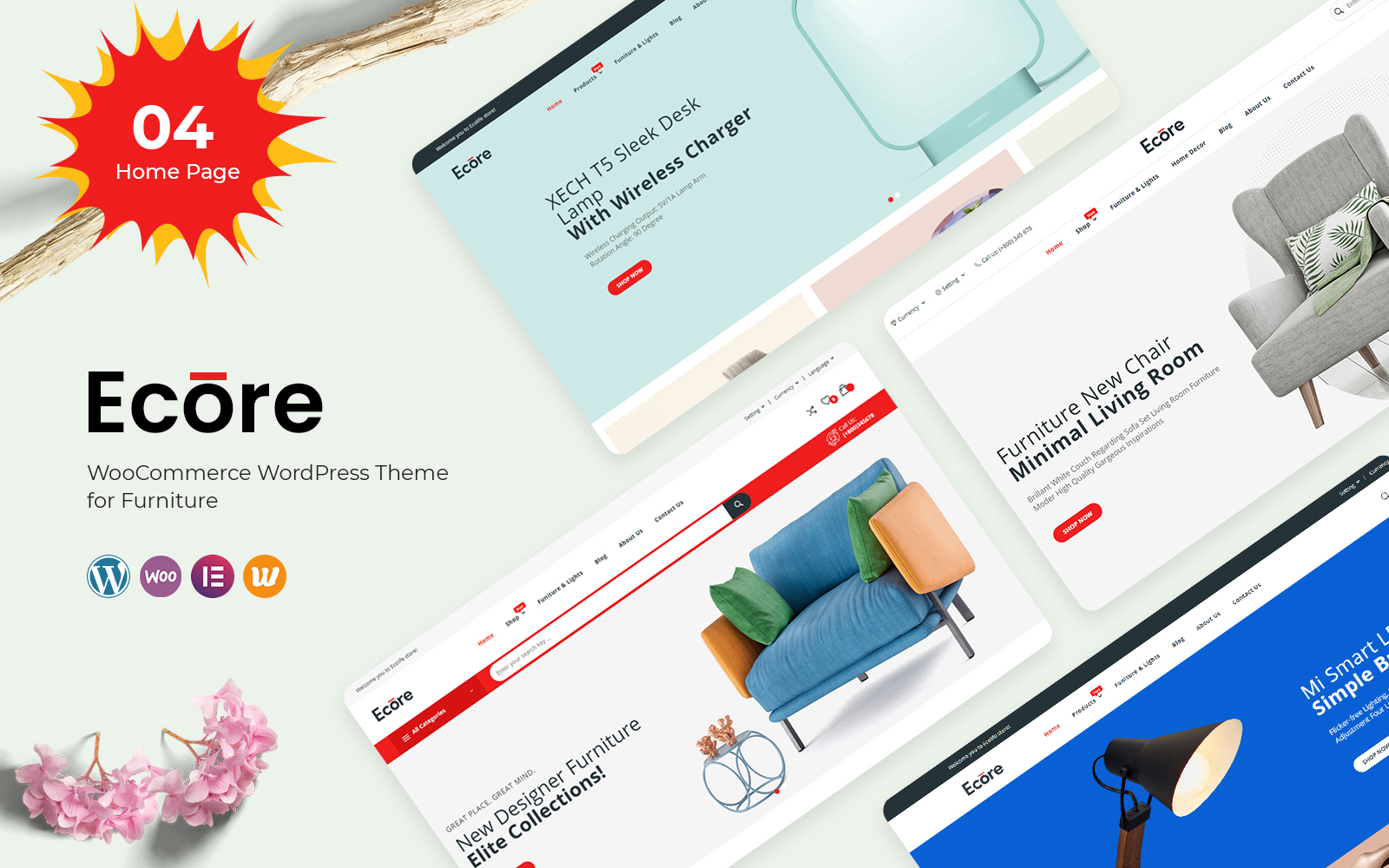 """Ecore - Furniture"" Responsive WooCommerce Thema №122663"