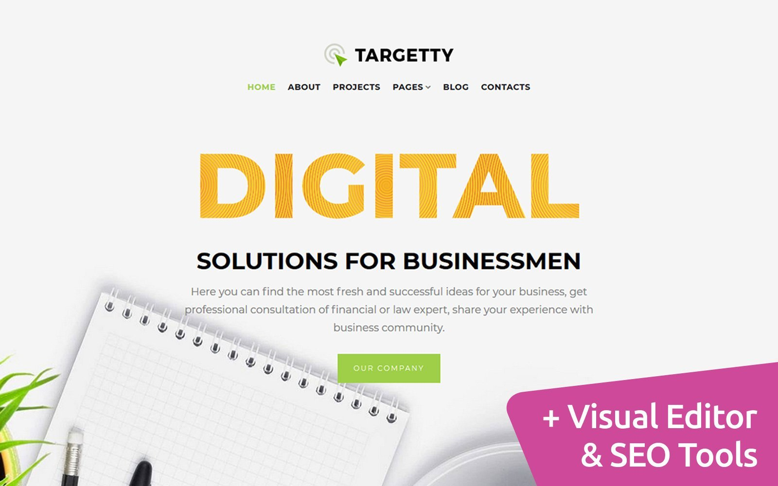 """Moto CMS 3 Template namens """"Targetty - Fancy Advertising Agency"""" #122667"""