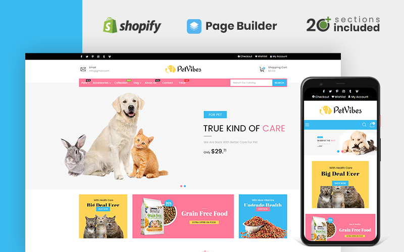 """Petvibes - Pets Store"" Responsive Shopify Thema №122662"