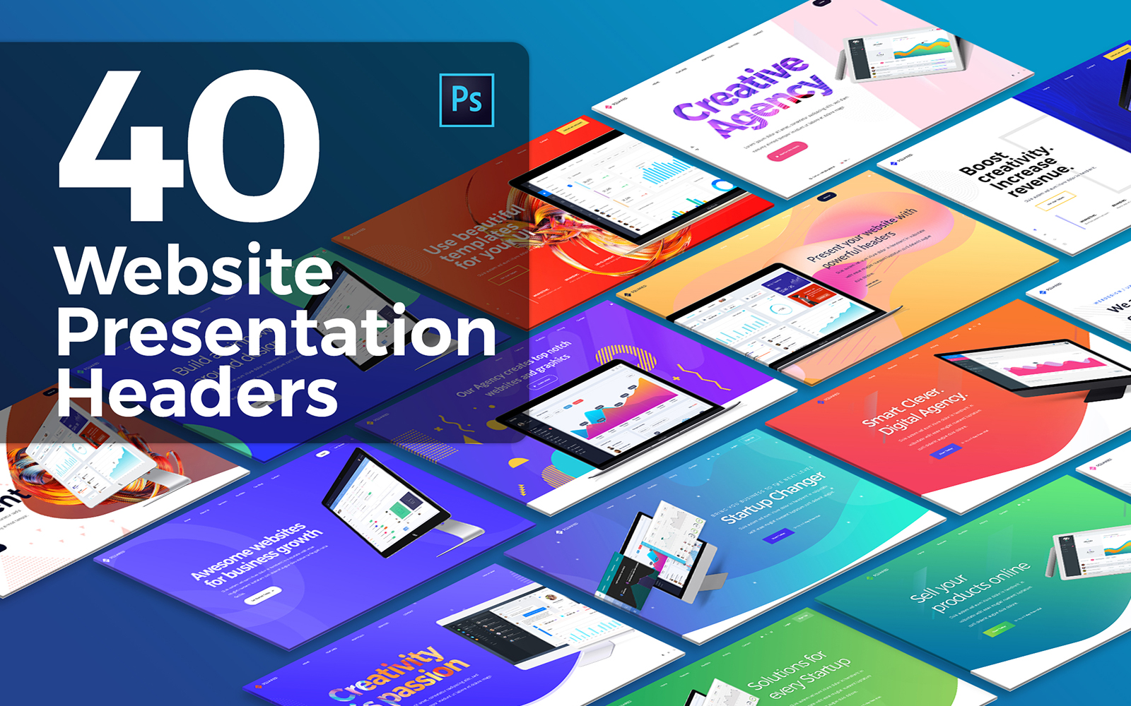 """40 Website Presentation Headers"" PSD Template №122659"