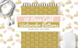 Rose Gold Watercolor Seamless Vector