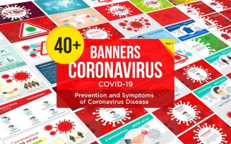 40 Banner Prevention and Symptoms of Coronavirus Disease Design Template - Vector Image
