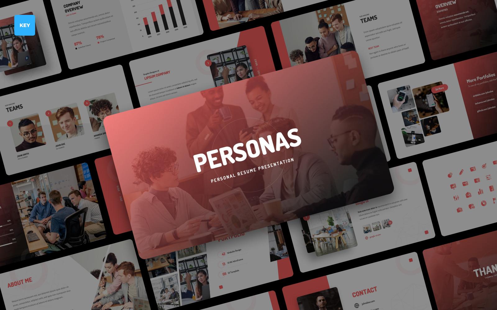 "Template Keynote #122773 ""Personas - Personal Resume Presentation"""