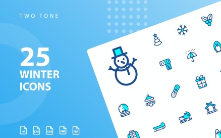 Winter Two Tone Icon Set