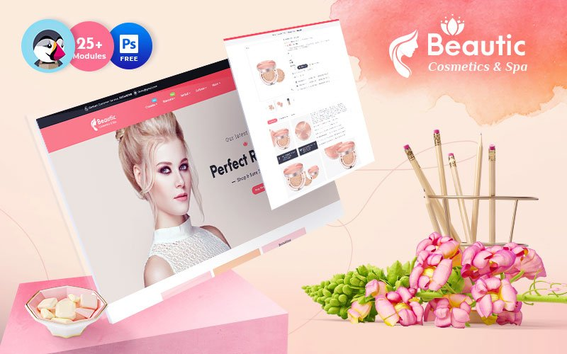 """Beautic - Cosmetics & Spa - Multipurpose Responsive"" 响应式PrestaShop模板 #122896"