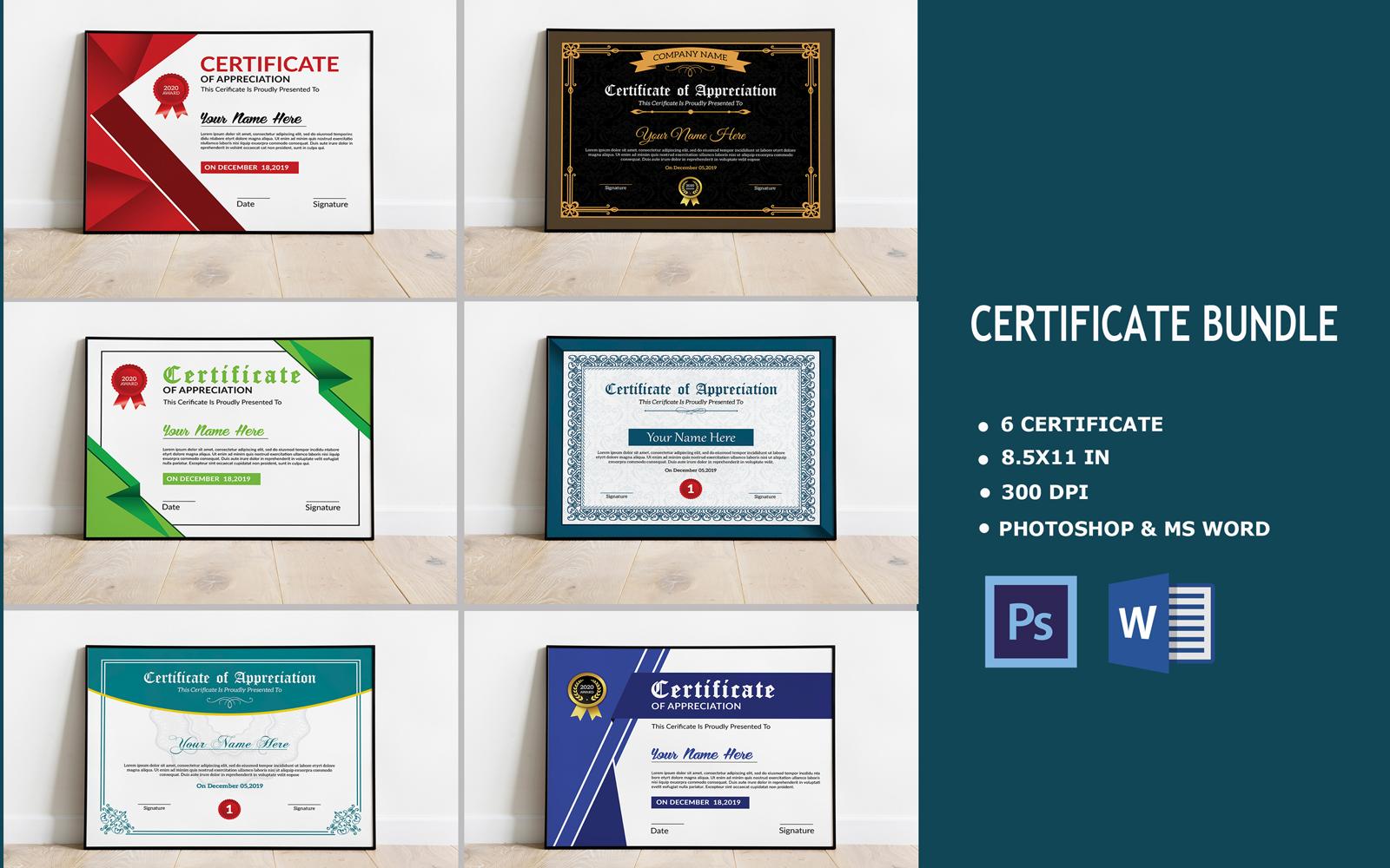 """""""6 Bundle"""" modèle de certificat  #122865"""