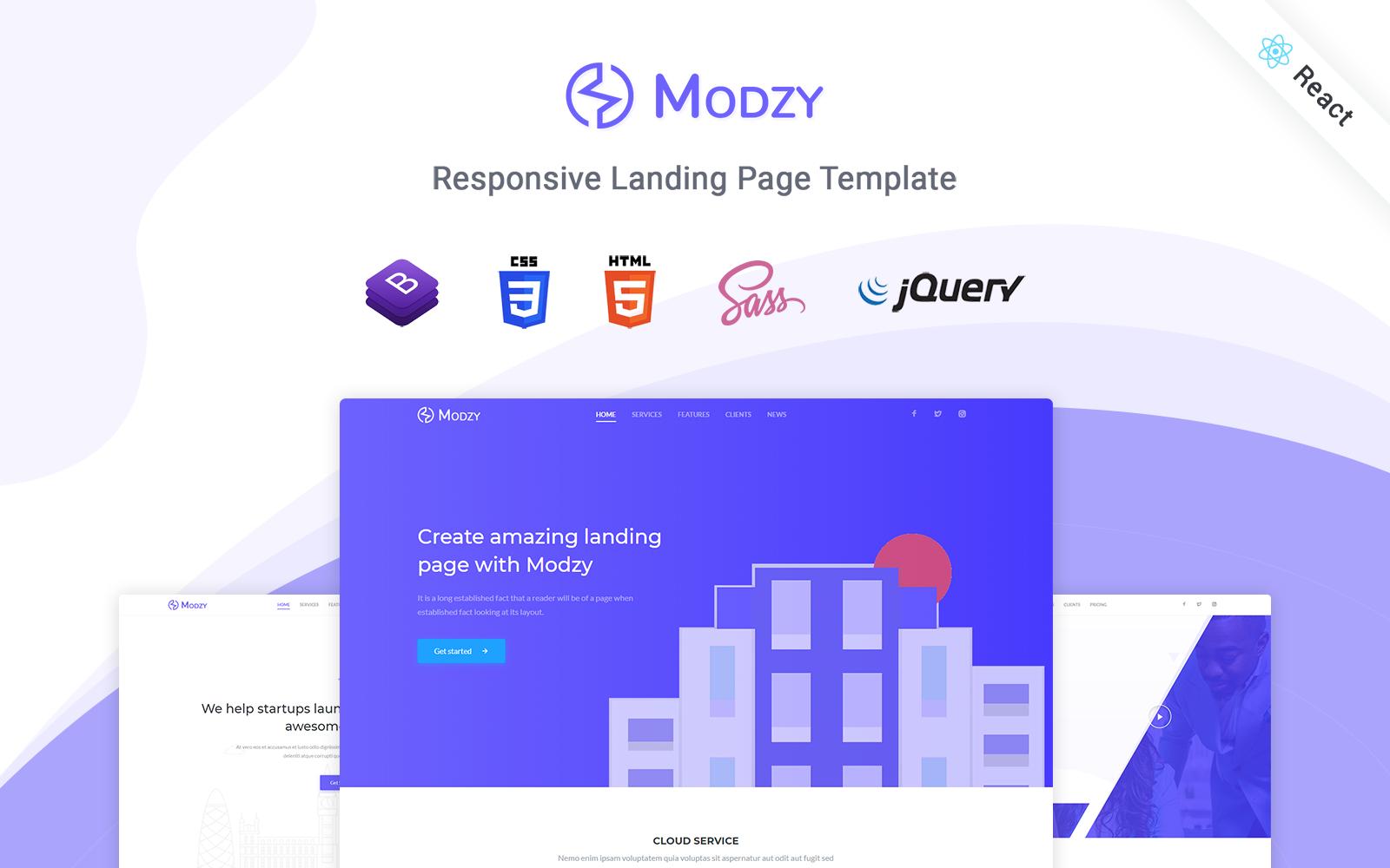 """Modello di Landing Page Responsive #122891 """"Modzy - Responsive React"""""""