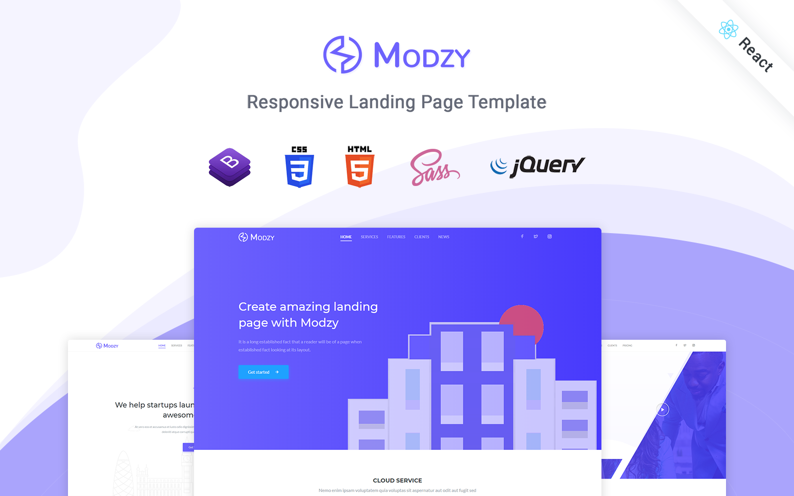 Responsivt Modzy - Responsive React Landing Page-mall #122891