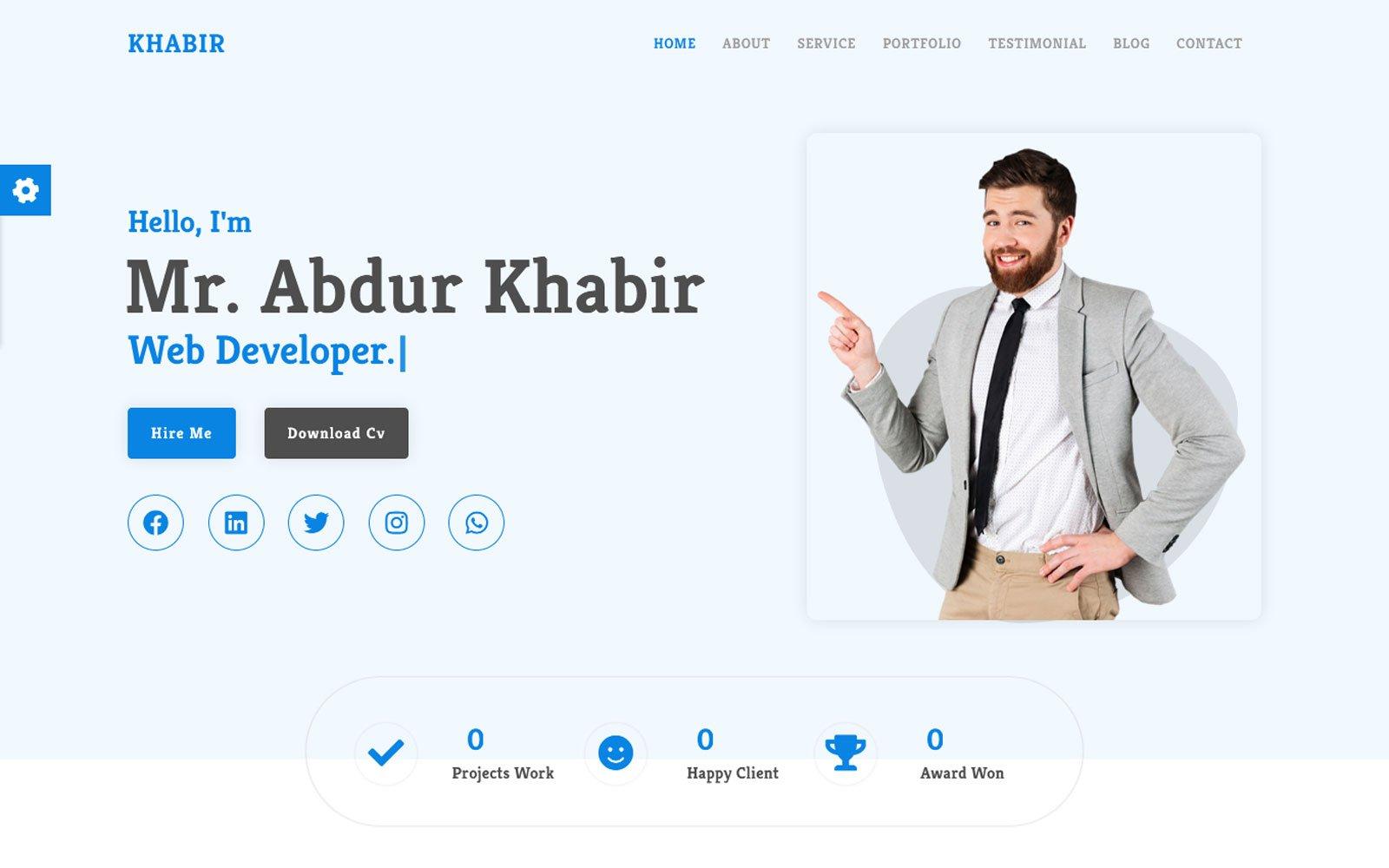 "Template di Landing Page Responsive #122887 ""Al-Khabir - Creative Portfolio CV/Resume"""
