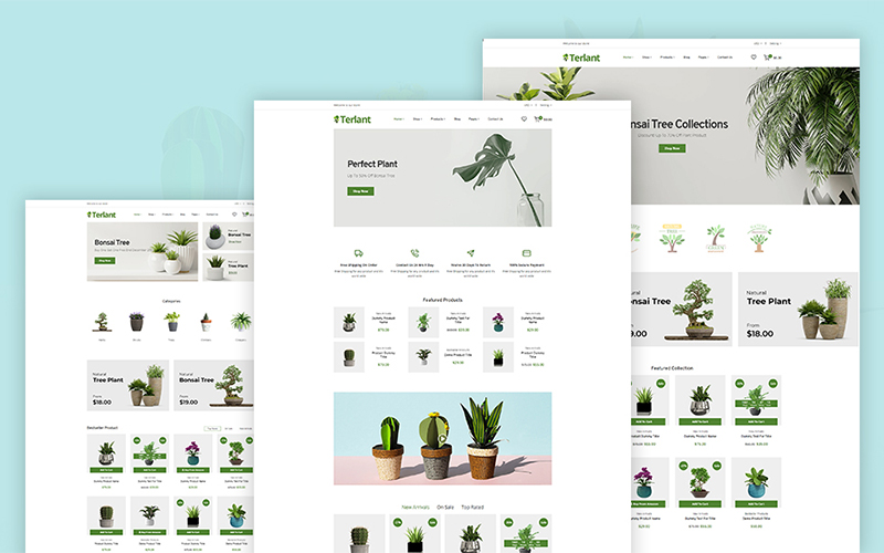 """Terlant - Nursery Flower Plant"" Responsive Shopify Thema №122888"