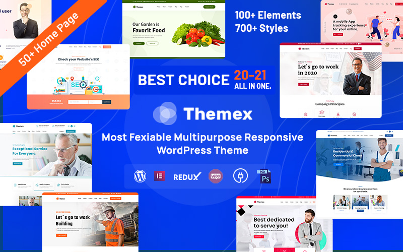 """Themex - Multipurpose Responsive"" 响应式WordPress模板 #122890"