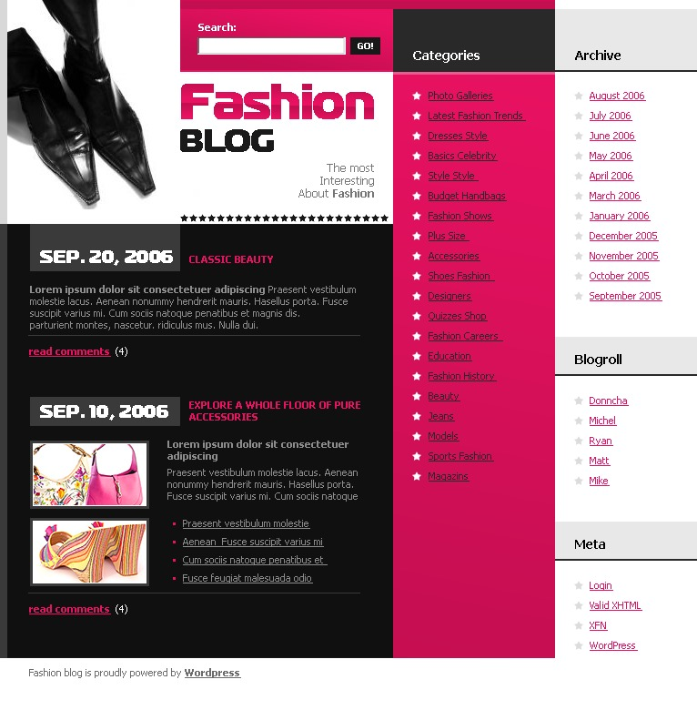 Fashion Blog Wordpress Theme 12302