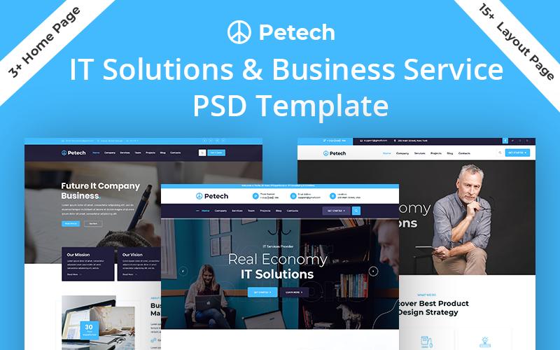 """Petech IT Solution & Business Service"" PSD Template №123007"