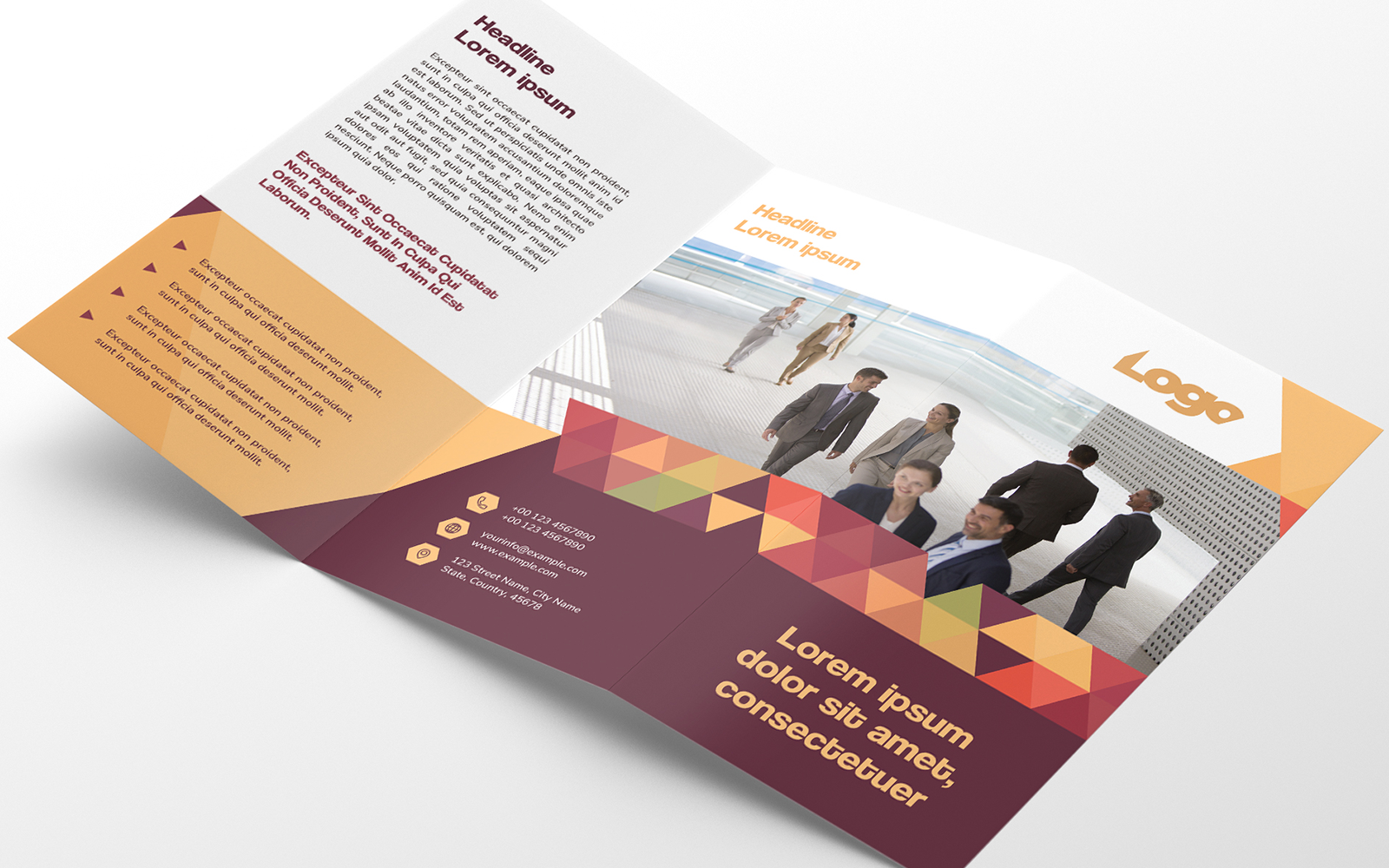 "Unternehmensidentität Vorlage namens ""Trifold Brochure Layout with Geometric Pattern Elements"" #123074"