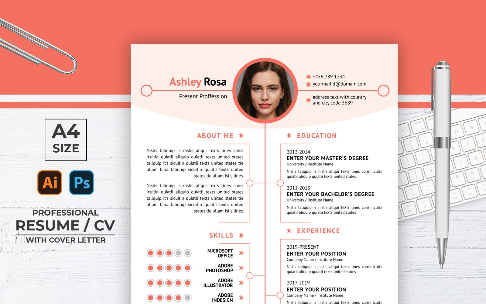 Ashley Rosa Creative CV Önéletrajz sablon 123162