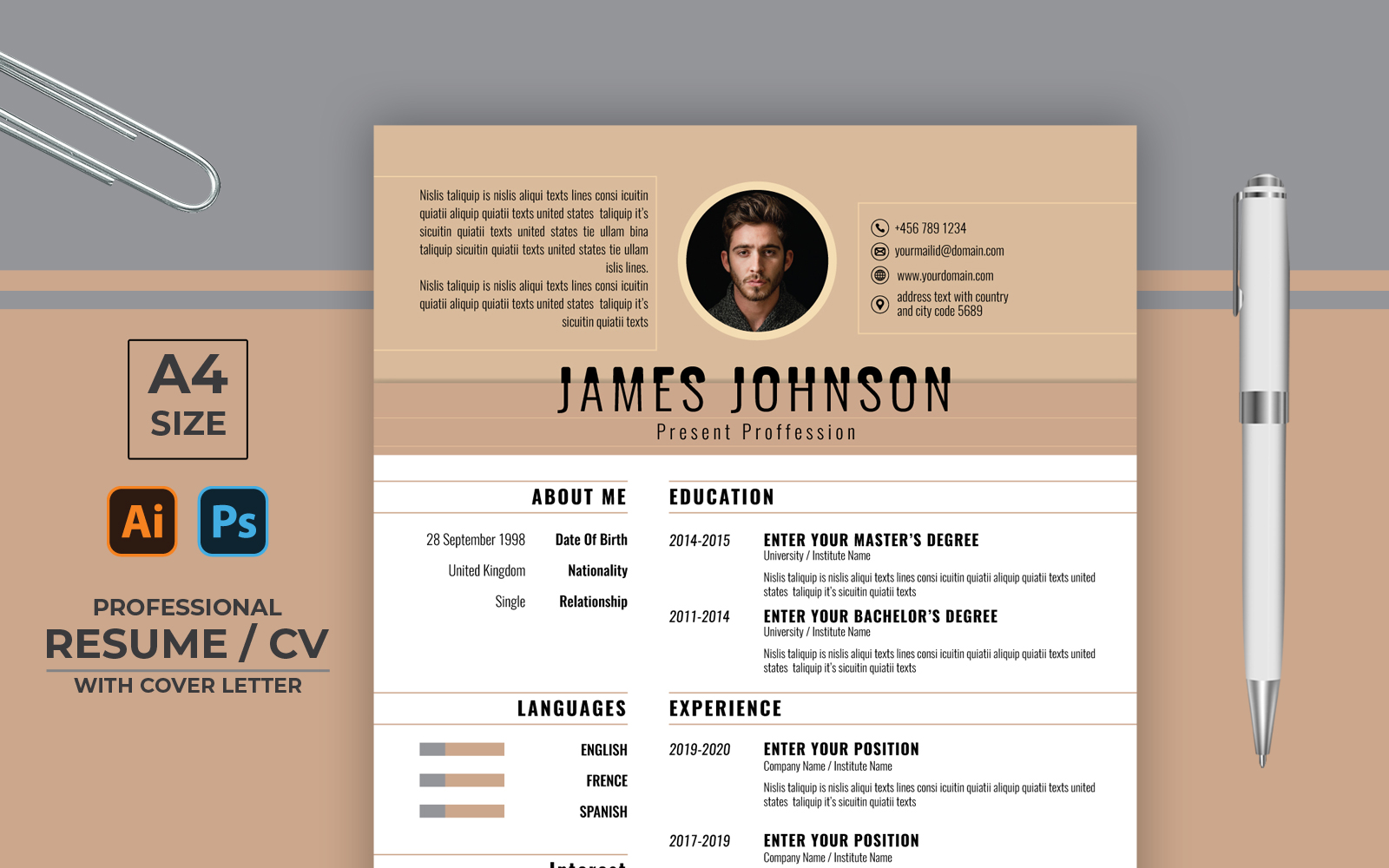 """Board Color Professional CV"" 简历模板 #123161"
