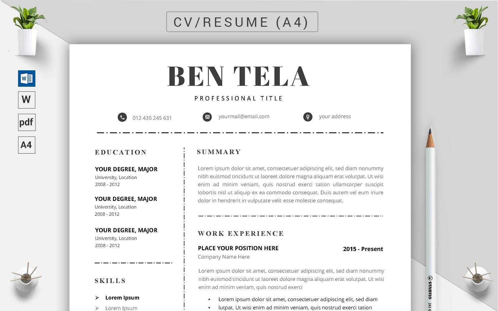 """Luxusní Šablona pro životopis """"Ben Tela - CV"""" #123184"""