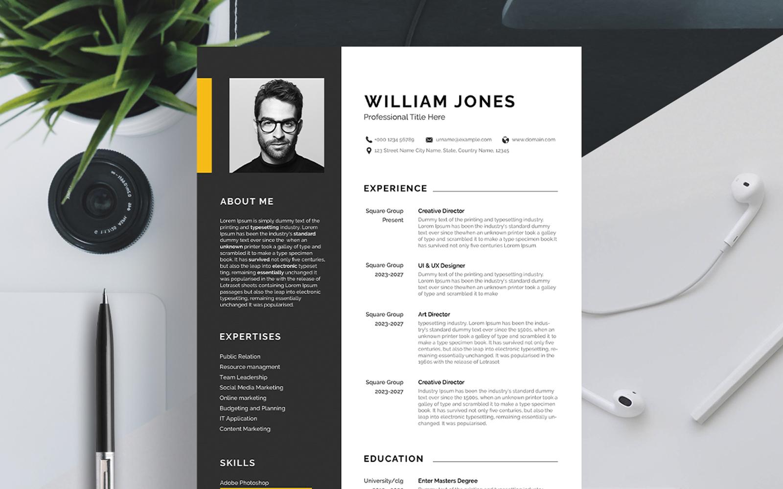 """Luxusní Šablona pro životopis """"Professional CV"""" #123168"""